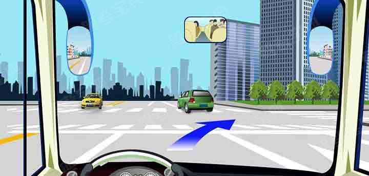 驾驶机动车在这个路口右转弯可以不变更车道。