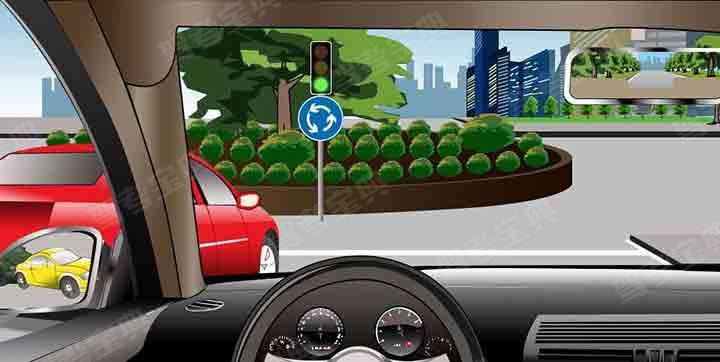 如图所示,在这种情况下准备进入环形路口时,为了保证车后车流的通畅,应加速超越红车进入路口。