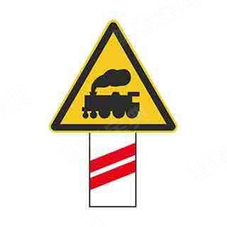 如图所示,这个标志设置在有人看守的铁道路口,提示驾驶人距有人看守的铁路道口的距离还有100米。