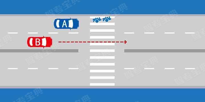 如图所示,当越过停在人行横道前的A车时,B车应当减速,准备停车让行。