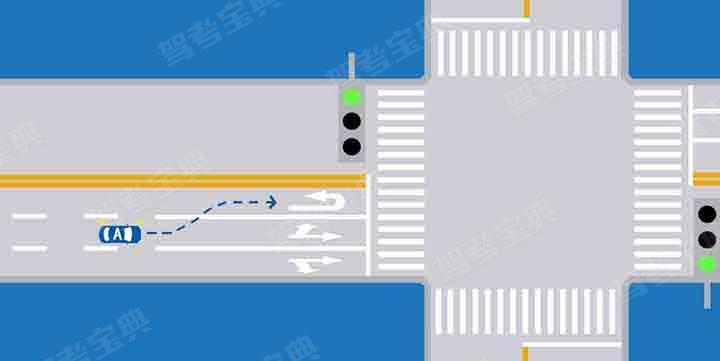 如图所示,A车要在前方掉头行驶,可以在此处变换车道,进入左侧车道准备掉头。