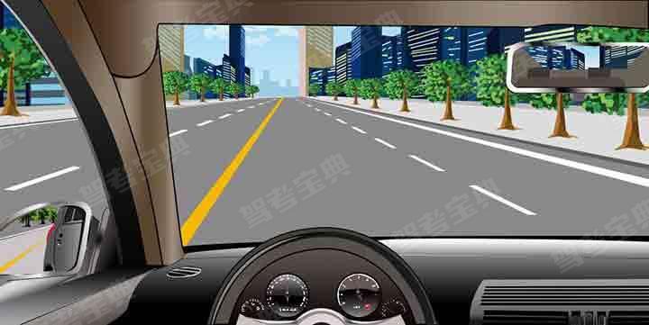 如图所示,若车后50m范围内无其他车辆,可以不打转向灯变更车道。