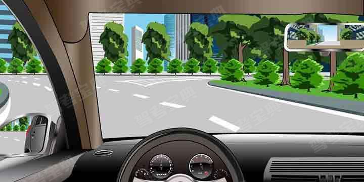 如图所示,驾驶机动车驶出环岛时,应先驶入最右侧车道不用开启转向灯驶离即可。