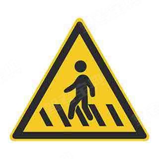 图中标志为人行横道标志。(黄底、黑边、黑图案)