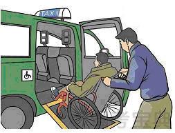 如图所示,无障碍出租汽车与普通出租汽车服务标志的区别在于前者设有____。