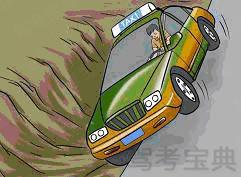 如图所示,车辆将要发生侧翻时,驾驶员不应采取下列哪项处置措施?____。