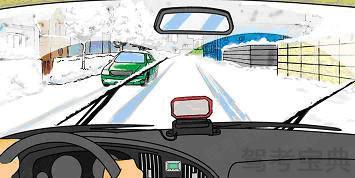 如图所示,雪天行车时,驾驶员应尽量避免____。
