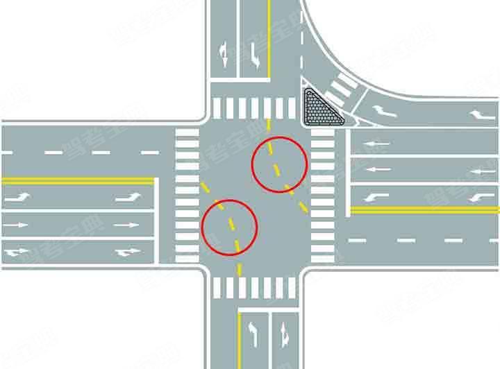 图中圈内黄色虚线是什么标线?