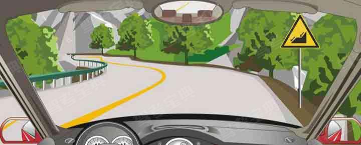 右侧标志警告前方是下陡坡路段。
