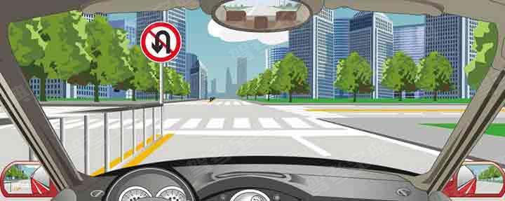 左侧标志表示前方路口不准掉头。