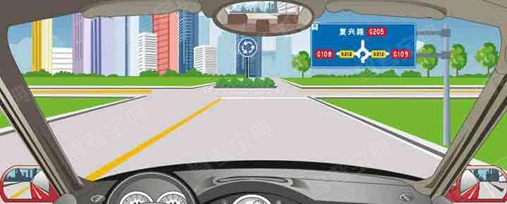 前方标志告知各个路口出口方向的信息。
