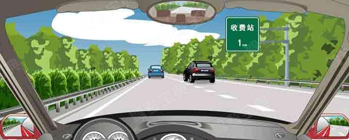 右侧标志提示距离设有电子不停车收费车道的收费站1公里。