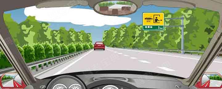 右侧标志指示距离设有电子不停车收费车道的收费站1公里。