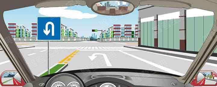 该车道路面导向箭头指示前方路口仅可左转弯。