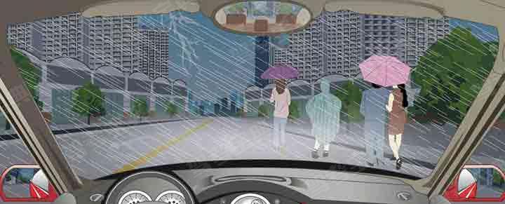 雨天遇到这种行人占道行走时怎样通行?