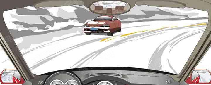 在这种有车辙的冰雪路段怎样行驶?